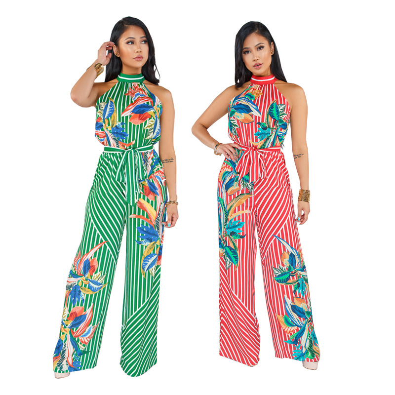 New Arrival Women's Jumpsuits & Rompers Halter Sexy Boot Red/green White Striped Leaf Prints With Waist Sleeveless For Lady