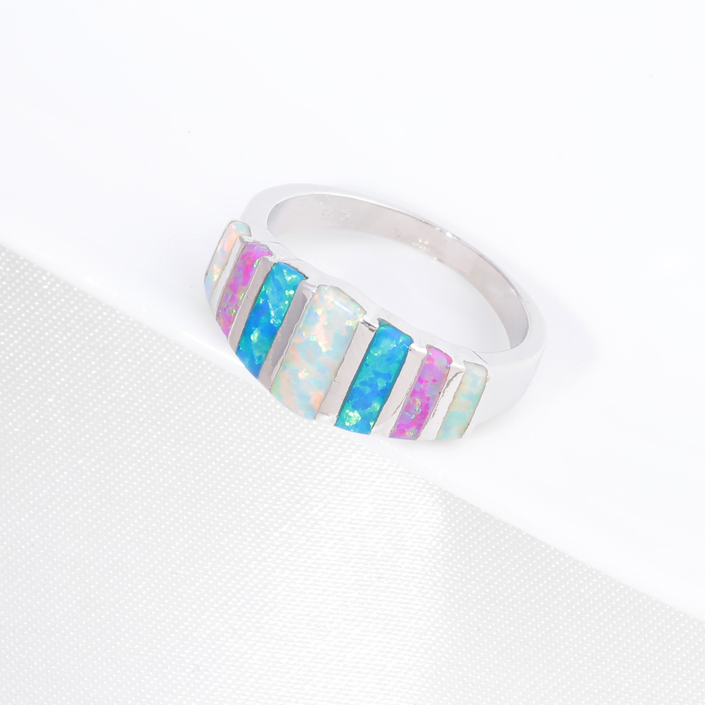 CiNily Rainbow Big Fire Opal Batu Cincin Perak Disepuh Biru Putih - Perhiasan fashion - Foto 3