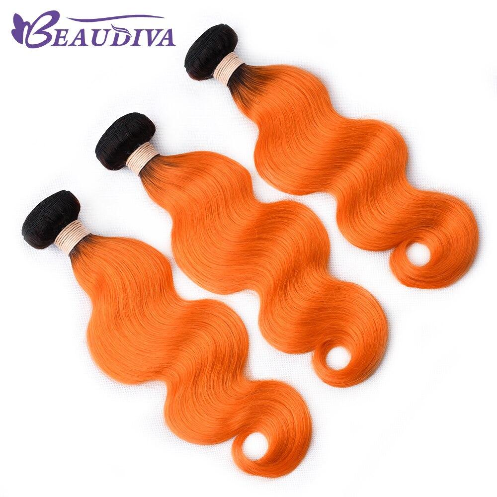 BEAUDIVA Hair Brazilian Body Wave Hair 3 Bundles T1B ORANGE Body Wave Hair Extensions 100 Human