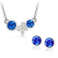 Wholesale New 2014 Hot Promotion Austria Crystal Pendant Necklace Stud Earring Jewelry Sets For Women Party Wear Silver Plated