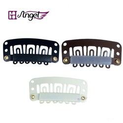 Los ángeles de Charlie 100 Uds 32mm U punta a presión de Metal Clips de silicona para Clip en extensiones de cabello/trama/peluca
