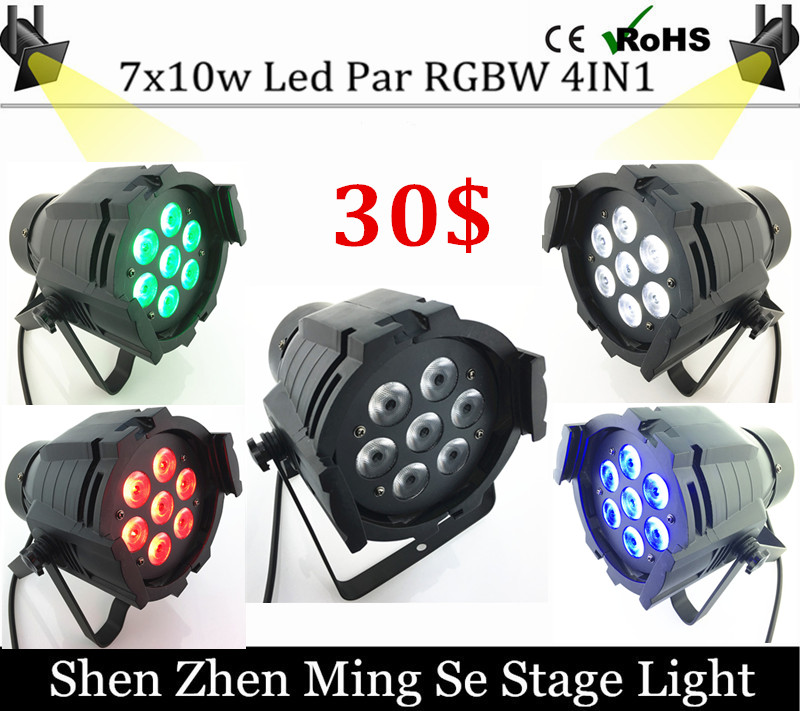 ФОТО 7pcs 10W Led Par Light DMX512,RGBW Led Par Light,Mini 7x10 Led Par 4in1 Cheap Price aluminum Led Par Light 90V-240V