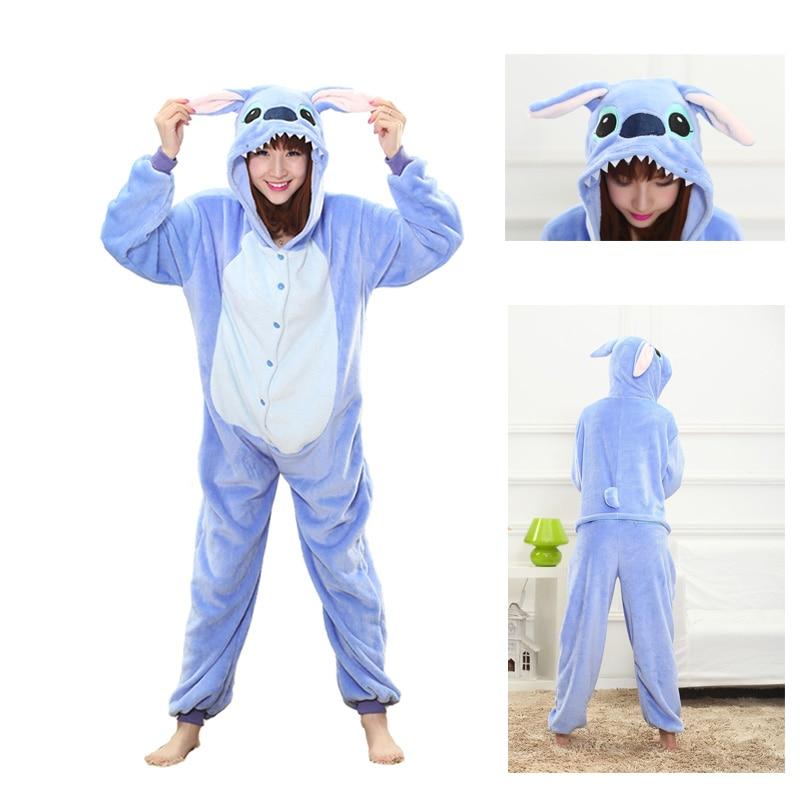 2019 Winter blue stitich   Pajama     Sets   Cartoon Sleepwear Women   Pajama   Flannel Animal Stitch Panda Unicorn Tigger   Pajama   kigurumi
