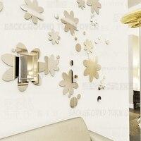 جميلة ديي البولكا نقطة زهرة الاكريليك مرآة الجدار ملصق لغرفة النوم غرفة الطعام سقف 3d زخارف الجدران غرفة المعيشة r051