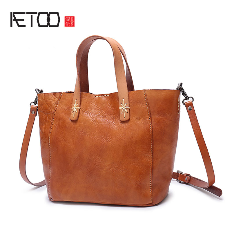 AETOO Japanese art first layer of leather handbags 2017 ladies shoulder bag large capacity simple tote bag leather handbag aetoo boston first layer of leather ladies handbag bag fashion simple simple large capacity handbags shoulder messenger bag