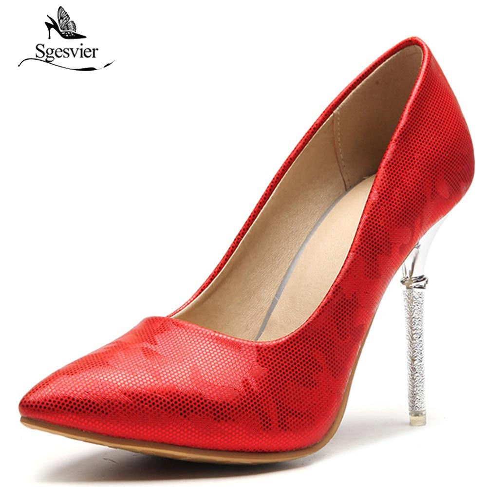 SGESVIER 2018 Spring Sexy Shoes Woman High Heels Pumps Stiletto Thin Heels Women Pumps Party Wedding Shoes Red Pink OX219 baoyafang white red tassels women wedding shoes bride 12cm 14cm high heels platform shoes woman high pumps female shoes