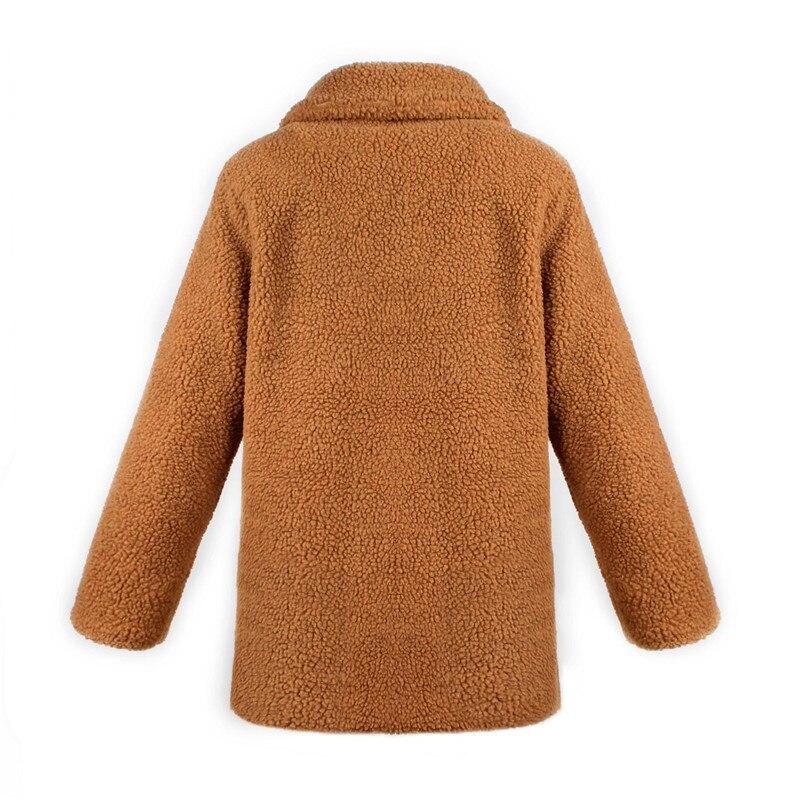 Europe and the United States street photo lapel imitation fur plush coat multi-color long wool coat (11)