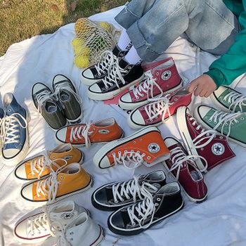 Wysokiej jakości klasyczne tenisówki damskie 2020 nowe jesienne wysokie buty płaskie damskie buty wulkanizowane Factory Outlet kobiece obuwie tanie i dobre opinie HAKEEM Płótno Szycia Geometryczne Dla dorosłych Cotton Fabric Wiosna jesień Mieszkanie (≤1cm) Lace-up Pasuje prawda na wymiar weź swój normalny rozmiar