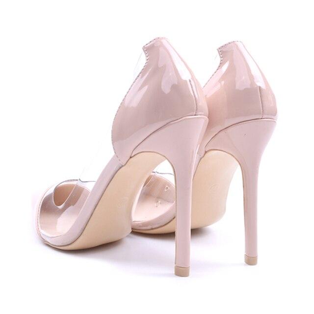 GENSHUO Women Pumps Transparent Thin High Heels 6