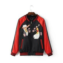 Spring and autumn casual fashion, free shipping silk flower and bird embroidery stitching jackets for men and women