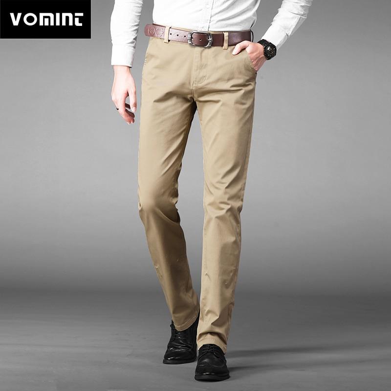 HTB19TyrKv5TBuNjSspmq6yDRVXaK VOMINT Mens Pants High Quality Cotton Casual Pants Stretch male trousers man long Straight 4 color Plus size pant suit 42 44 46