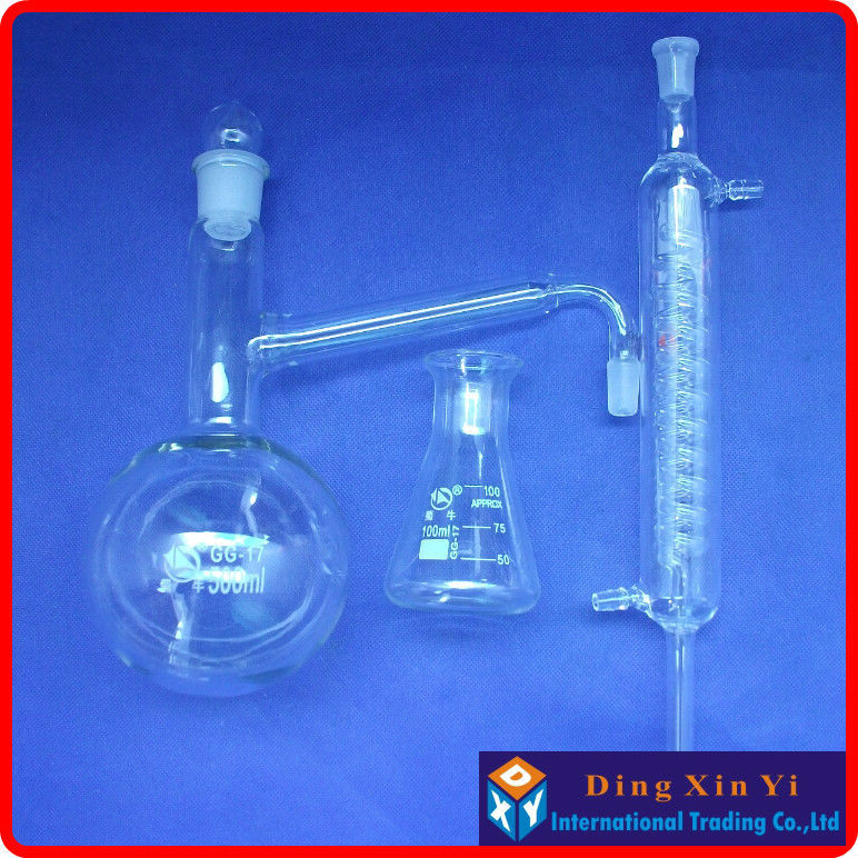 Distiling Apparatus With Ground Glass Joints,Glass Distillation Unit,distillation Flask+graham Condenser+conical Flask Distiller