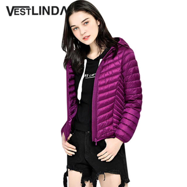 810928492fbb7 US $29.99 30% OFF|VESTLINDA Hooded Parka Ukraine Long Sleeve Solid Color  Packable Lightweight Women Jacket Coat Winter 2018 Warm Outerwear Female-in  ...