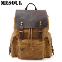High Quality Waterproof Backpack Men Canvas Travel Shoulder Rucksack Vintage Large Capacity Youth Boy Laptop Backpack