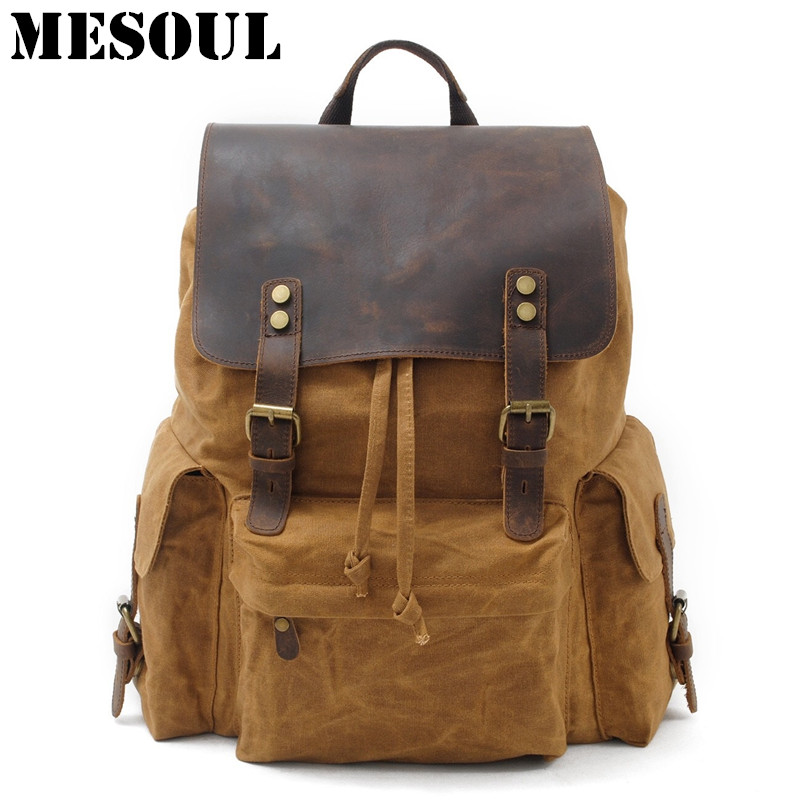 High Quality Waterproof Backpack Men Canvas Travel Shoulder Rucksack Vintage Large Capacity