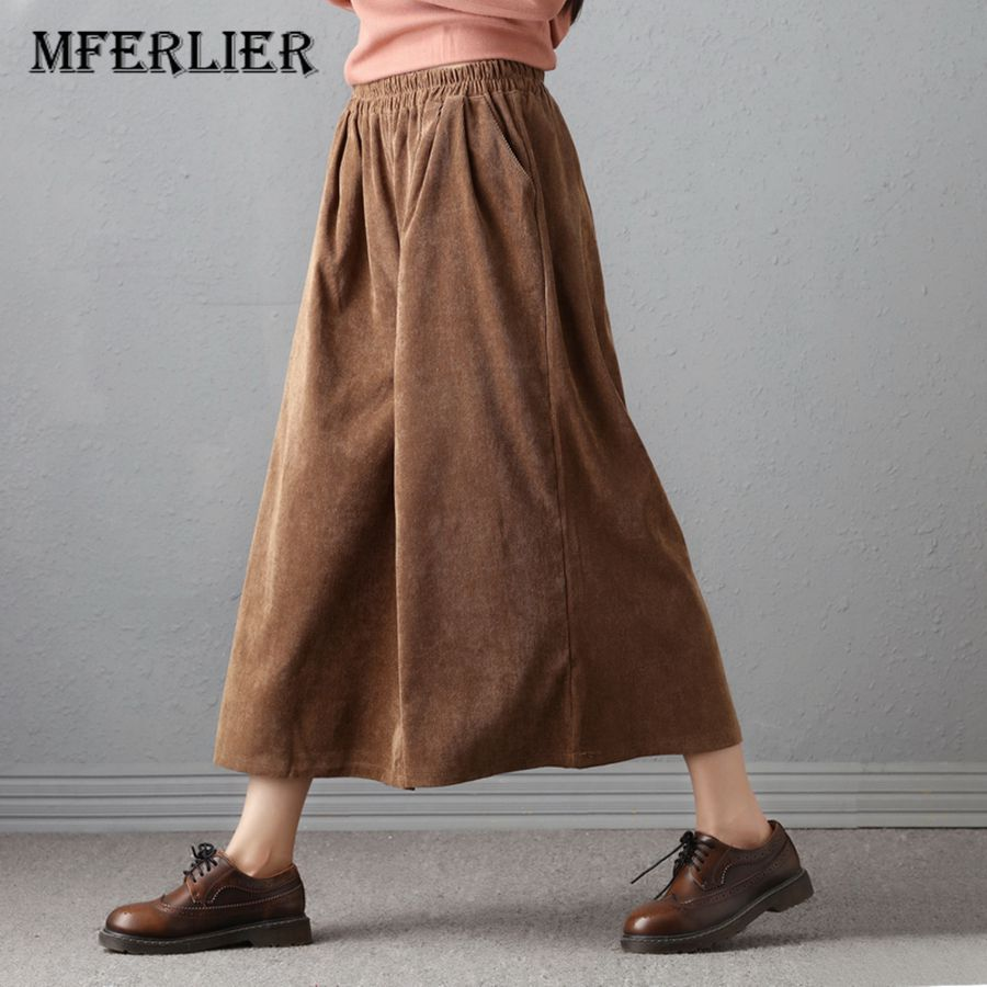 Mferlier Trousers for Women Corduroy   Pants   Vintage Casual Thicken Women Winter Trousers Warm Elastic Waist Loose   Wide     Leg     Pants