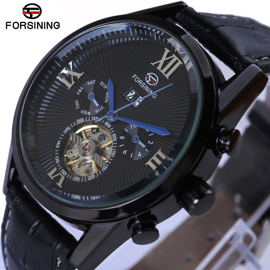 Mens Watches Top Brand Luxury Forsining Men Sport Tourbillon Automatic Mechanical Genuine Leather Wristwatch relogio masculino купить
