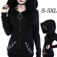 New Women Punk Style Black Solid Color Hooded Sweat Hoodie Jacket Coat Over Size