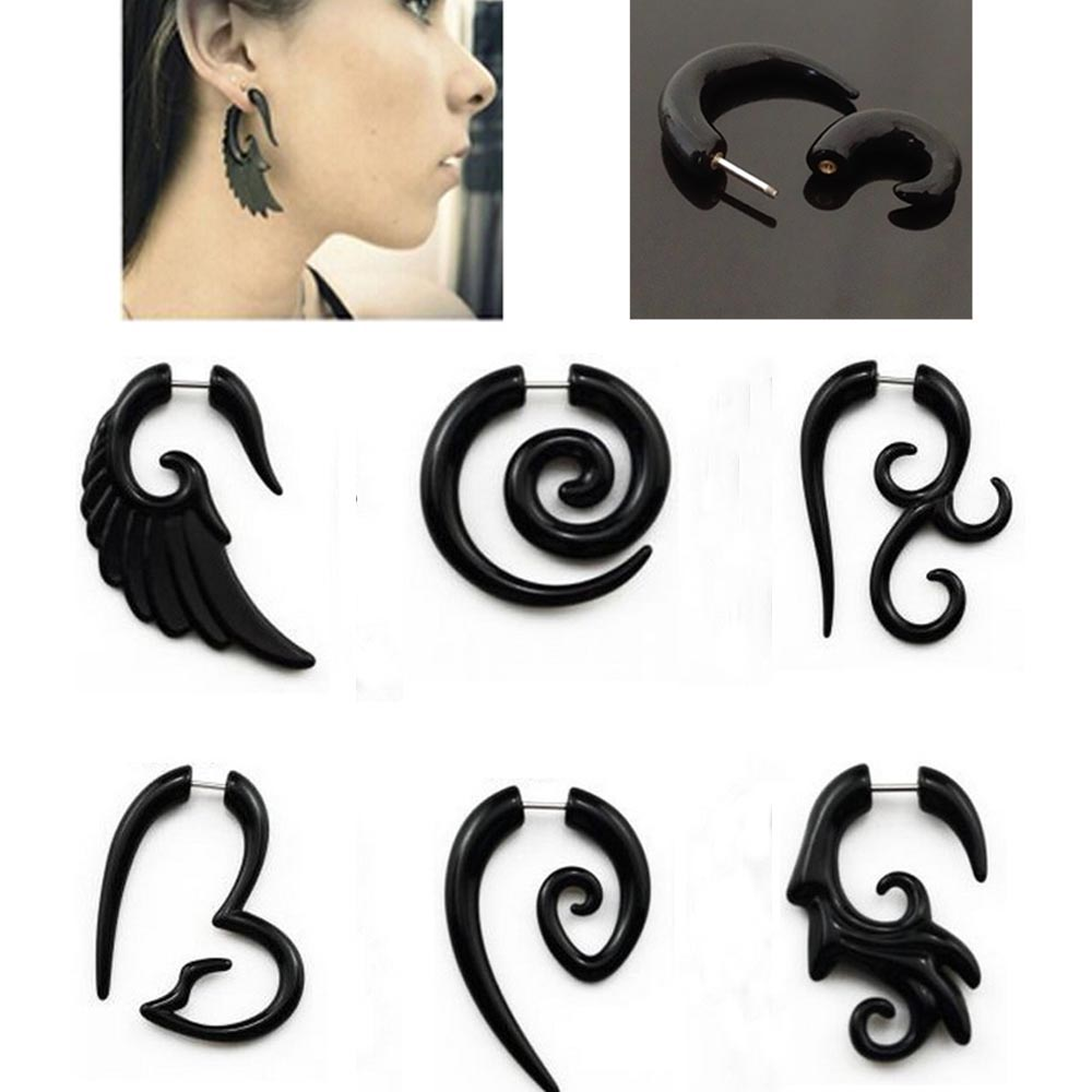 Acrylic Spiral Wing Black Ear Piercing Fake Taper Plug Cheater Stretcher Earring