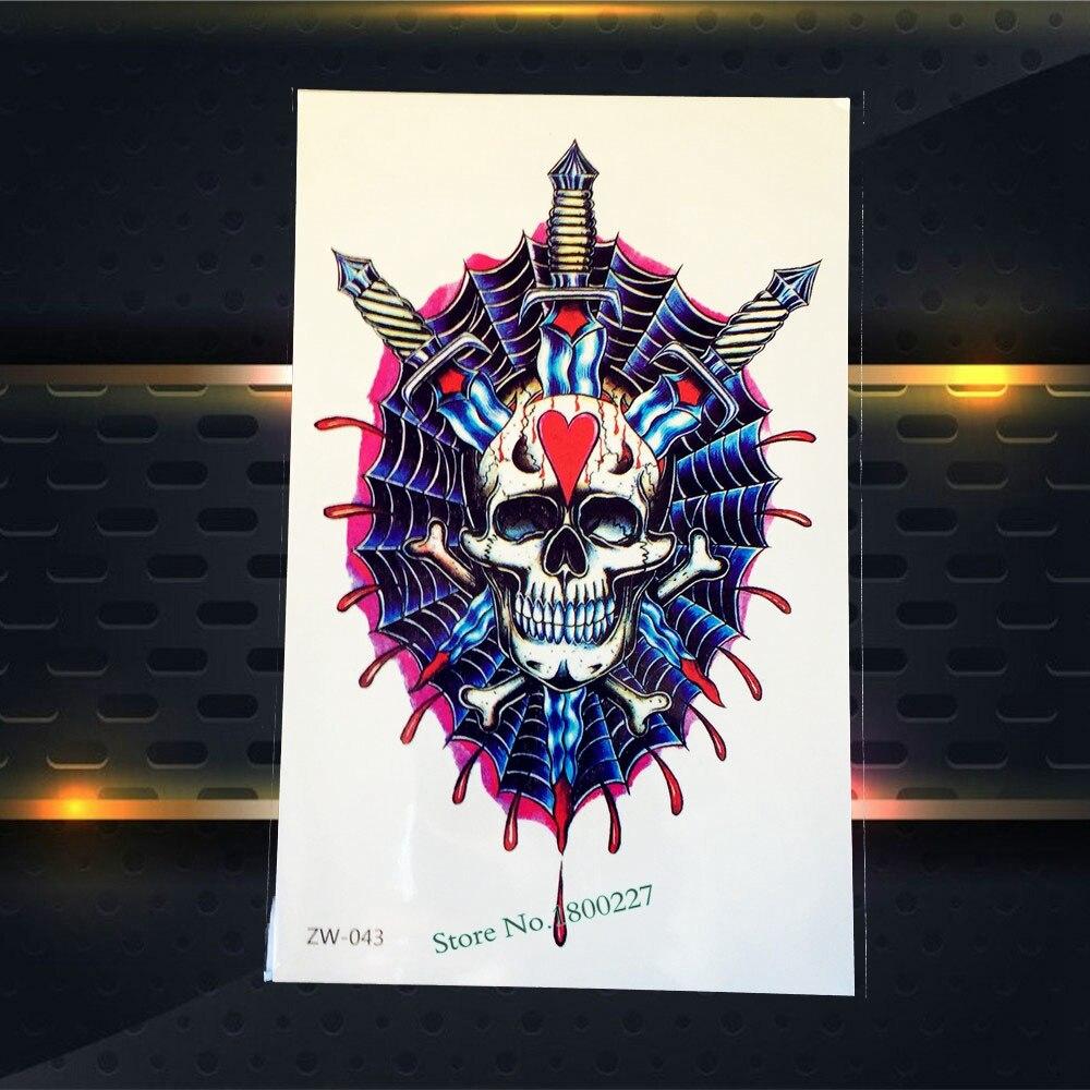 1PC Nontoxic Waterproof Body Art Decal Temporary Tattoo Skull Sword Blood Design Arm Tattoo Sleeve Sticker For Men Women PZW-043