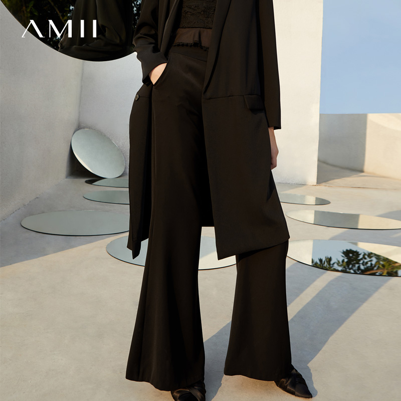 Amii Women Minimalist   Wide     Leg     Pants   2019 High Waist Flare Long Female Trousers