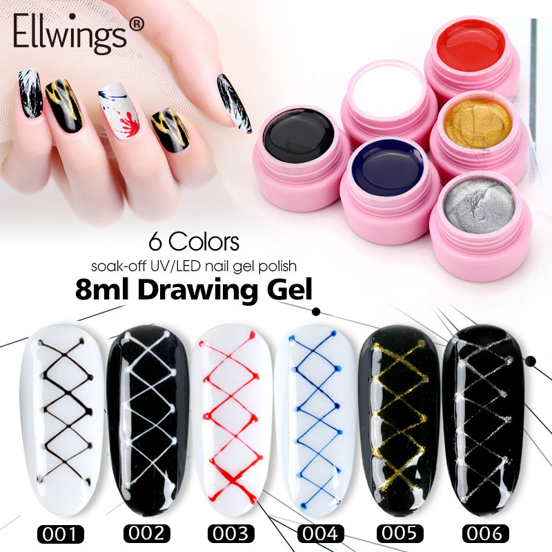 Ellwings Creative Wire Draw Painting Gel Nail Polish 3d Line Point
