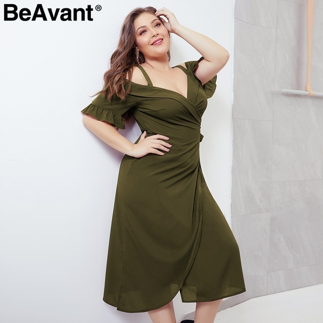 BeAvant Elegant cold shoulder plus size dress women V neck short sleeve summer dresses Casual wrap midi ladies dresses vestidos 3