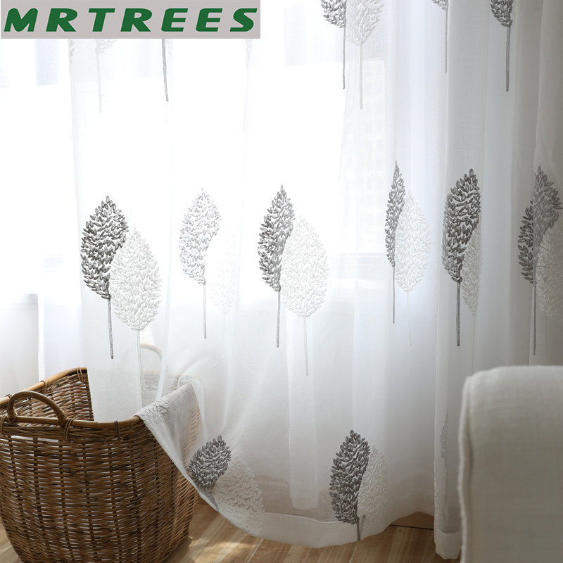 MRTREES Embroidered Tulle Window Curtains For Living Room Bedroom Curtains  For Kitchen Sheer Curtain Tulle For Window Drapes