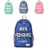 Women Girls Bangtan Boys BTS J Hope Jimin Jin Jungkook Suga V Backpack Floral Canvas Bag Travel Shoulder Bag