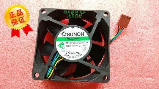 SUNON 7cm 7025 70*70*25MM DC12V 3.17W MF70251V2-Q010-S9A 4-wire Cooling Fan original sunon pmd1207ptv1 a 7025 magnetic levitation maintenance bearing large air volume 7cm fan 70x70x25mm