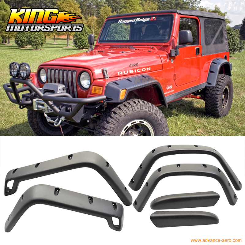 Fender Flares Extra Wide Body Wheel Arches Set for Jeep Wrangler TJ 97-06 Black