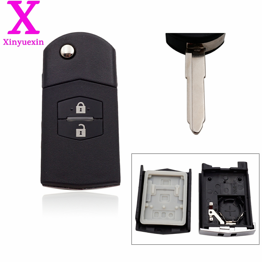 Xinyuexin Remote Key Fob Case Folding Flip Shell for mazda 3 5 6 m6 <font><b>rx8</b></font> mx5 2 3 Buttons Car Key Shell Plastic Shell image
