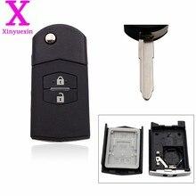 Xinyuexin remoto chave fob caso dobrável flip shell para mazda 3 5 6 m6 rx8 mx5 2 3 botões chave do carro escudo de plástico