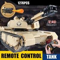 Technics military radio remote control M1A2 Abrams Main Battle Tank block ww2 Desert Lion bricks 2.4Ghz rc toys collection