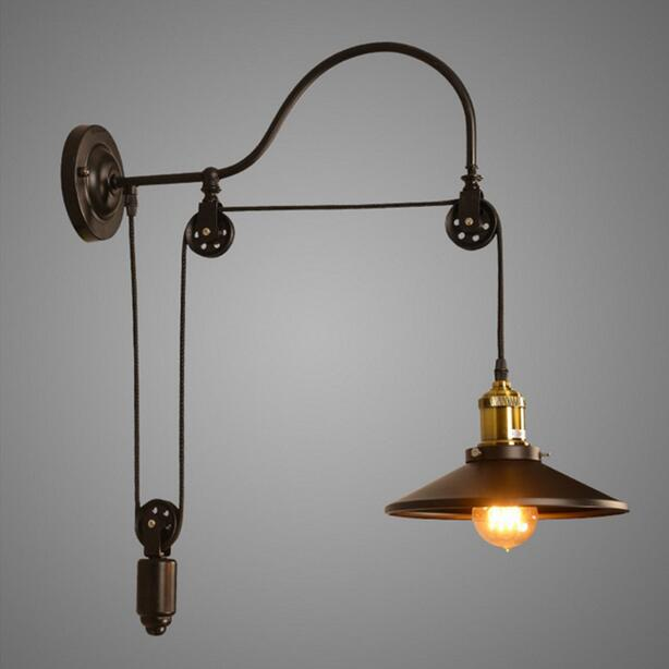 ФОТО Loft Style Antique Wall lamp Lighting Lift Retractable Pulley Wall Sconce Lighting Bar Cafe Light