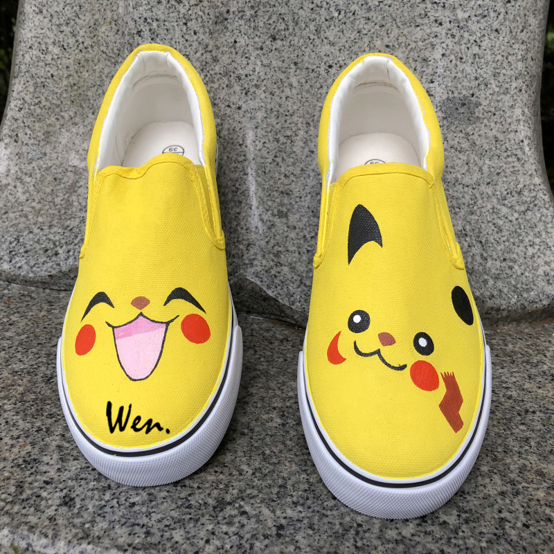 Wen Unisex Anime Hand Painted Shoes Design Custom Pokemon Pikachu Slip On Canvas Sneakers for Birthday Christmas Gifts