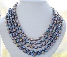 Très bon 9-10mm NATURE paon noir baroque d'eau douce collier de perles 100 pouces 14 k or plaqué Fine femmes bijoux livraison gratuite