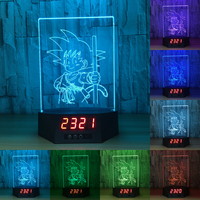 Dragon Ball Goku 7 Color Change Touch Remote Control With Calendar Lamp 3D Visual Effects Reading