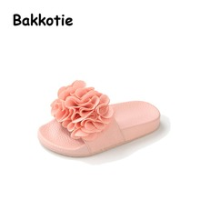 Bakkotie 2017 Summer Children Kid Brand Fashion Black Mules Pink Baby Girl Beach Slippers Toddler Black Slides Green Flowers
