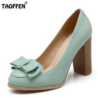 TAOFFEN women high heel shoes sweet spring summer autumn quality footwear sexy heeled ladies pumps shoes heels size 34-43 P22449