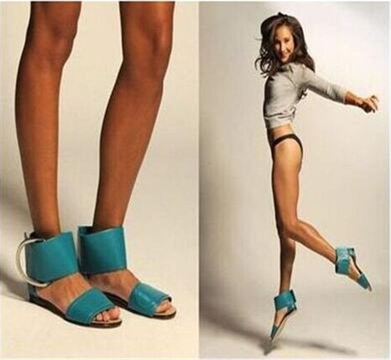 Casuales Picture A Azul Cuero La Con Rojo Sandalias Moda Hebilla As Mujer Gladiador Grande Picture Planas Claro De Zapatos as wnYT6