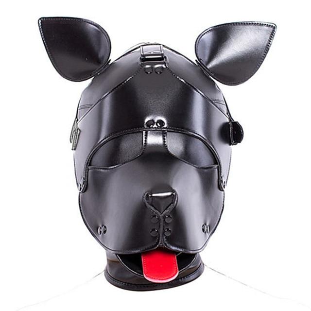 Productos sexuales PU cuero capucha máscara cabeza engranaje perro Bondage esclavo en juegos adultos para parejas fetiche coqueteo juguetes para Mujeres Hombres Gay