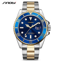 SINOBI Gold Watch Men GMT Rotatable Bezel Wrist Watch Date Waterproof Mans Full Stainless Steel Sports