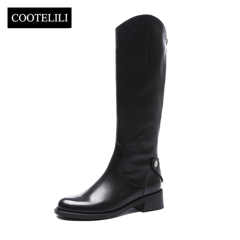 COOTELILI Women Winter Boots 4cm Heel Women Shoes Fashion Lady Basic Women Boots Knight Zipper Round Toe Knee High Boots 35-40 basic 2018 women thick heel ankle boots black pu fleeces round toe work shoe red heel winter spring lady super high heel boots