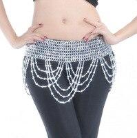 Gold Silver Belly Dance Bead Belt For Women Wave Indian Bellydance Dancing Waist Chain Stretch Waist