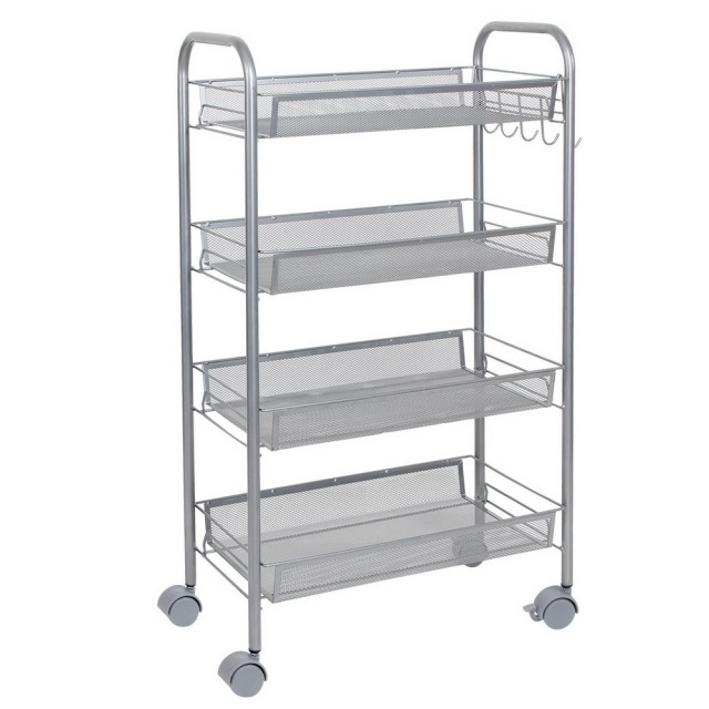 4 Tier Shelving Rack Shelf Shelves Rolling Kitchen Pantry Storage Utility Cart