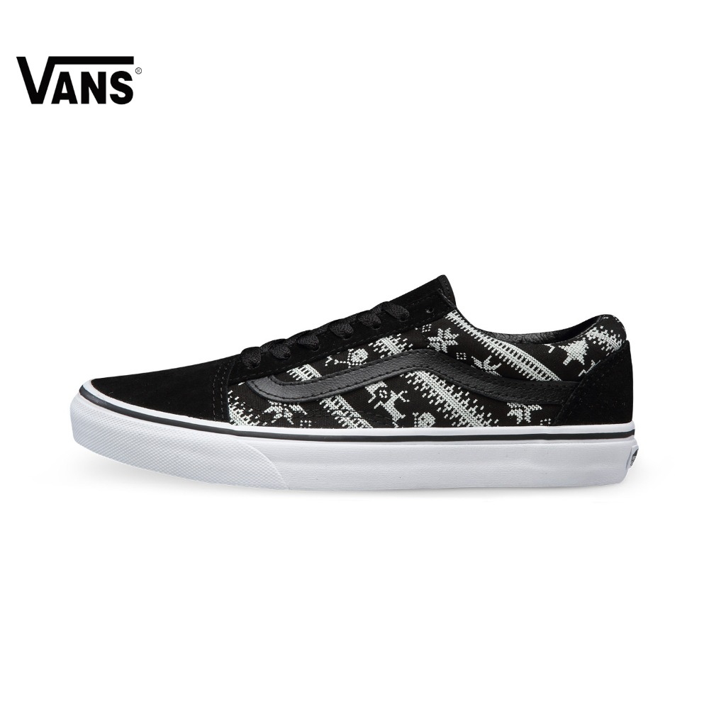 цена на Original Vans White and Black Women Skateboarding Shoes Sports Shoes Sneakers Outdoor Sports Comfortable Breathable