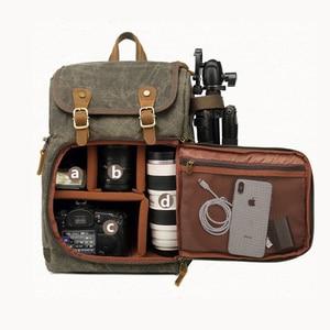 Image 5 - Bolso de la Cámara de la fotografía de la lona de Batik gran resistente al desgaste al aire libre impermeable mochila para Cannon/Nikon/Sony DSLR SLR