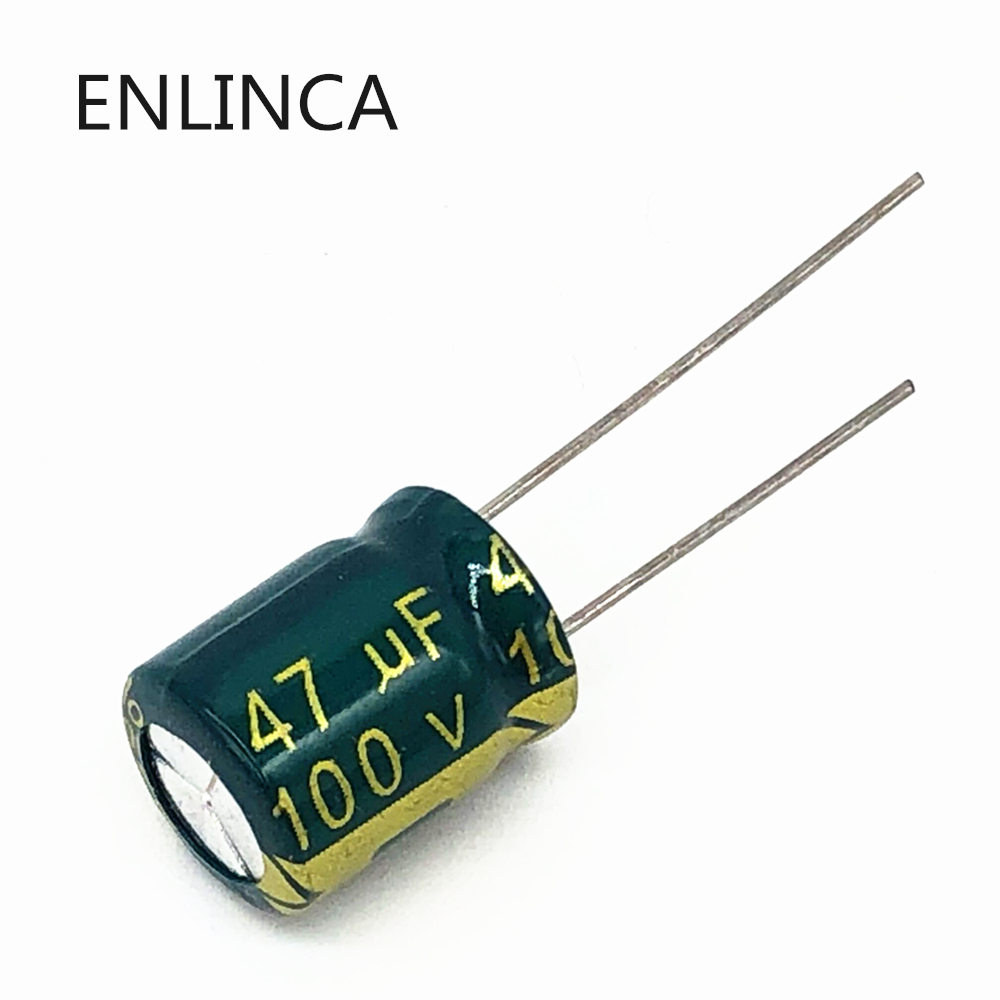 10pcs/lot BC02 high frequency low impedance <font><b>100v</b></font> <font><b>47UF</b></font> aluminum electrolytic <font><b>capacitor</b></font> size 10*13 <font><b>47UF</b></font> 20% image