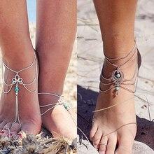 Women Turquoise Beads Beach Barefoot Sandal Foot Tassel Charm Anklet Chain